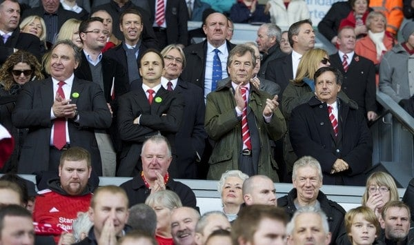 LIVERPOOL, ENGLAND - Sunday, October 24, 2010: Liverpool's new owners New England Sports Ventures vice chairman David Ginsberg, investor Michael Gordon, chairman Martin Broughton and co-owner and NESV Chairman Tom Werner during the Premiership match against Blackburn Rovers at Anfield. (Photo by David Rawcliffe/Propaganda)