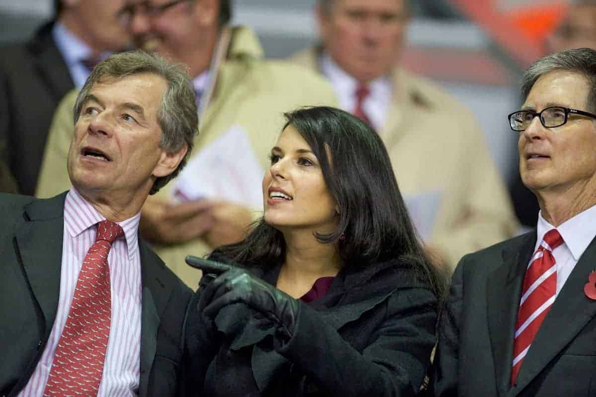 LIVERPOOL, ENGLAND - Thursday, November 4, 2010: Liverpool's former chairman Martin Broughton, owner John W. Henry and Henry's wife Linda Pizzuti before the UEFA Europa League Group K Matchday 4 match against SSC Napoli at Anfield. (Photo by David Rawcliffe/Propaganda)