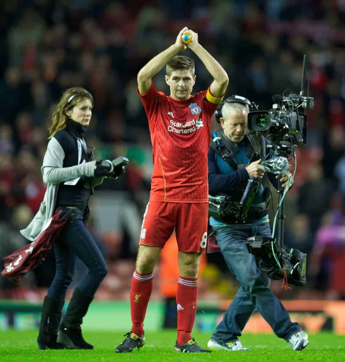 LIVERPOOL, ENGLAND - Thursday, November 4, 2010: Liverpool's hat-trick hero captain Steven Gerrard MBE applauds the supporters after his three goals sealed a 3-1 victory over SSC Napoli during the UEFA Europa League Group K Matchday 4 match at Anfield. (Photo by David Rawcliffe/Propaganda)