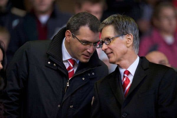 LIVERPOOL, ENGLAND - Sunday, November 7, 2010: Liverpool's owner John W. Henry and Director of Football Damien Comolli before the Premiership match against Chelsea at Anfield. (Photo by David Rawcliffe/Propaganda)