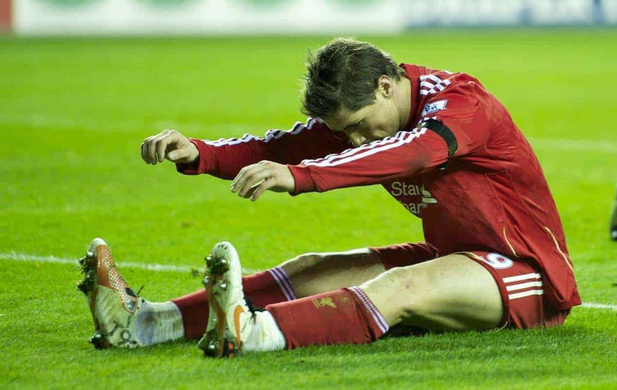 WIGAN, ENGLAND - Wednesday, November 10, 2010: Liverpool's Fernando Torres rues a missed chance against Wigan Athletic during the Premiership match at the DW Stadium. (Photo by David Rawcliffe/Propaganda)