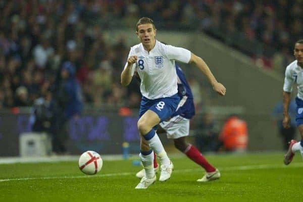 LONDON, ENGLAND - Wednesday, November 17, 2010: England's Jordan Henderson in action against France during the International Friendly match at Wembley Stadium. (Pic by: David Rawcliffe/Propaganda)
