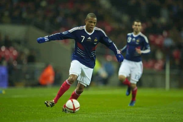 LONDON, ENGLAND - Wednesday, November 17, 2010: France's Loic Remy in action against England during the International Friendly match at Wembley Stadium. (Pic by: David Rawcliffe/Propaganda)