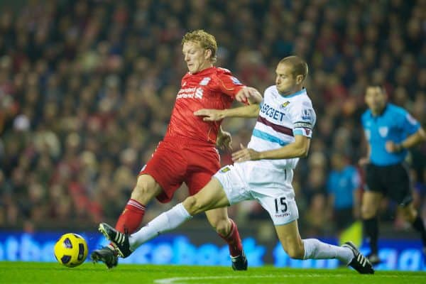 LIVERPOOL, ENGLAND - Saturday, November 20, 2010: Liverpool's Dirk Kuyt and West Ham United's captain Matthew Upson during the Premiership match at Anfield. (Photo by: David Rawcliffe/Propaganda)