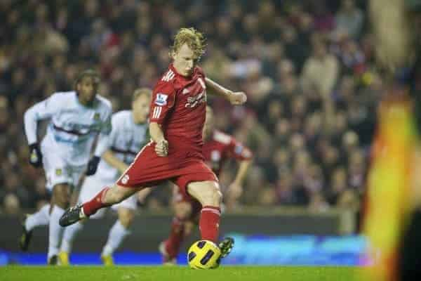 LIVERPOOL, ENGLAND - Saturday, November 20, 2010: Liverpool's Dirk Kuyt scores his side's second goal against West Ham United from the penalty spot during the Premiership match at Anfield. (Photo by: David Rawcliffe/Propaganda)