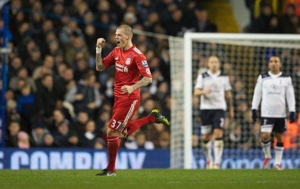 LONDON, ENGLAND - Sunday, November 28, 2010: Liverpool's Martin Skrtel celebrates scoring the opening goal against Tottenham Hotspur during the Premiership match at White Hart Lane. (Pic by: David Rawcliffe/Propaganda)