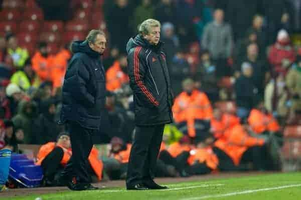 LIVERPOOL, ENGLAND - Monday, December 6, 2010: Liverpool's manager Roy Hodgson and Aston Villa's manager Gerard Houllier during the Premiership match at Anfield. (Photo by: David Rawcliffe/Propaganda)