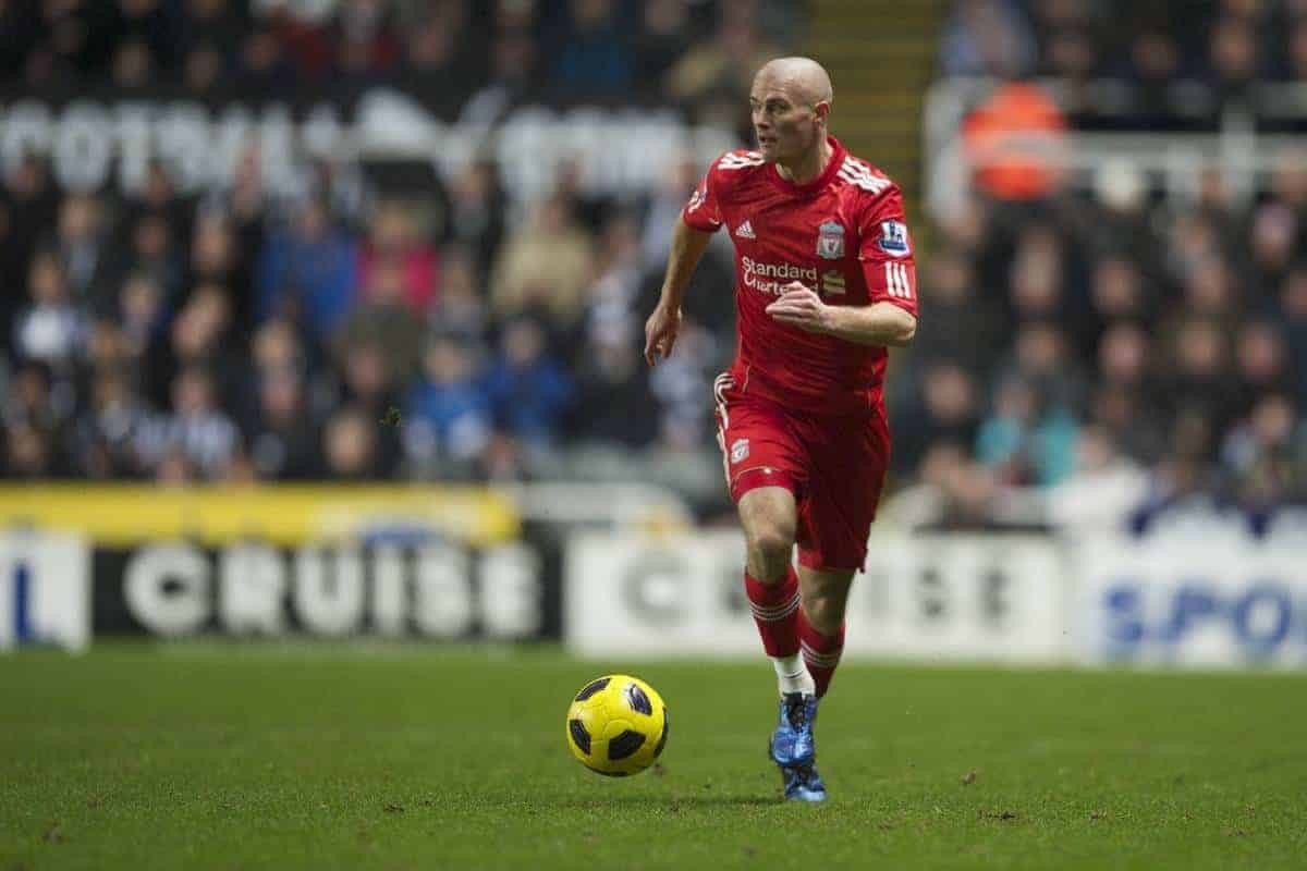 NEWCASTLE, ENGLAND - Saturday, December 11, 2010: Liverpool's Paul Konchesky in action against Newcastle United during the Premiership match at St James' Park. (Photo by: David Rawcliffe/Propaganda)