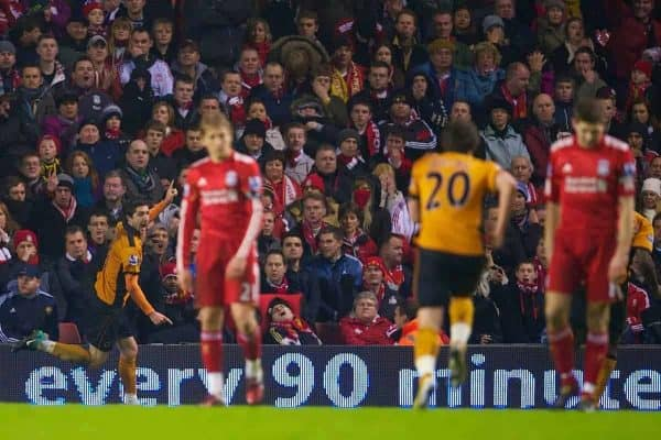 LIVERPOOL, ENGLAND - Wednesday, December 29, 2010: Wolverhampton Wanderers' Stephen Ward celebrates scoring the opening goal against Liverpool during the Premiership match at Anfield. (Photo by: David Rawcliffe/Propaganda)