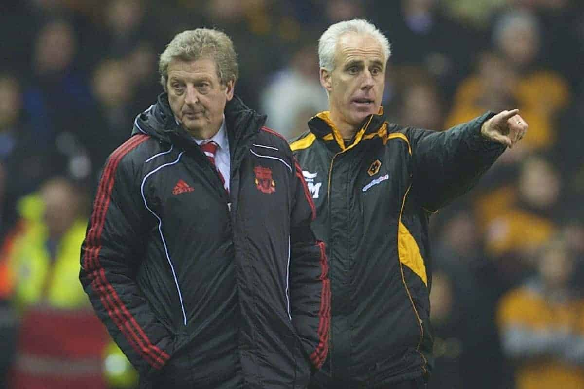 LIVERPOOL, ENGLAND - Wednesday, December 29, 2010: Liverpool's manager Roy Hodgson and Wolverhampton Wanderers' manager Mick McCarthy during the Premiership match at Anfield. (Photo by: David Rawcliffe/Propaganda)