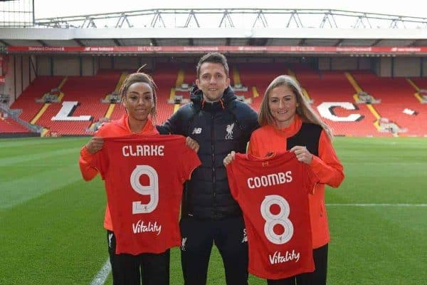 LFC Ladies signings Jess Clarke and Laura Coombs with manager Scott Rodgers (images via Liverpool FC)