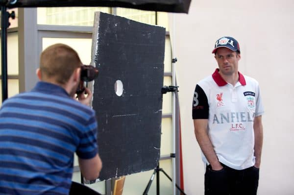 LIVERPOOL, ENGLAND - Friday, January 7th, 2011: Liverpool's Jamie Carragher poses for a photoshoot for the Liverpool FC fashion catelogue at the club's Melwood Training Ground. (Pic by David Rawcliffe/Propaganda)