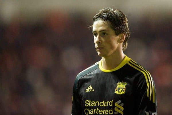 BLACKPOOL, ENGLAND - Wednesday, January 12, 2011: Liverpool's Fernando Torres looks dejected as his side lose 2-1 to Blackpool during the Premiership match at Bloomfield Road. (Photo by David Rawcliffe/Propaganda)