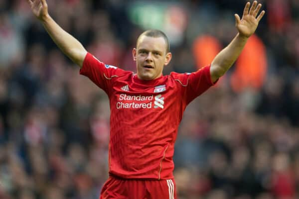 LIVERPOOL, ENGLAND - Sunday, January 16, 2011: Liverpool's Jay Spearing in action against Everton during the Premiership match at Anfield. (Photo by: David Rawcliffe/Propaganda)