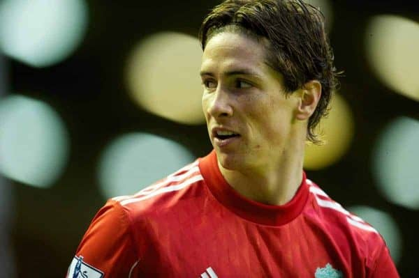 LIVERPOOL, ENGLAND - Sunday, January 16, 2011: Liverpool's Fernando Torres in action against Everton during the Premiership match at Anfield. (Photo by: David Rawcliffe/Propaganda)