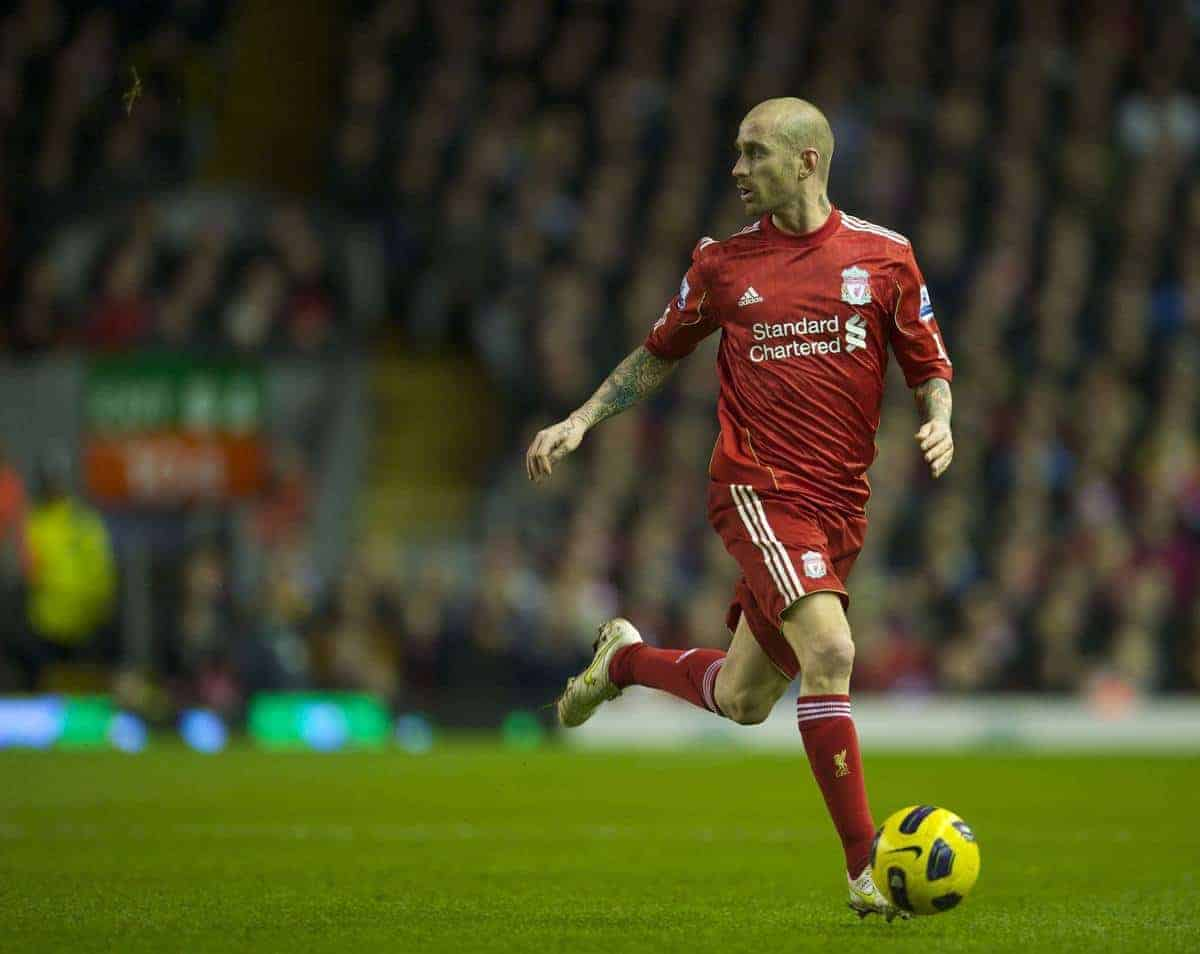 LIVERPOOL, ENGLAND - Wednesday, February 2, 2011: Liverpool's Raul Meireles in action against Stoke City during the Premiership match at Anfield. (Photo by David Rawcliffe/Propaganda)