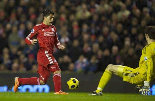 LIVERPOOL, ENGLAND - Wednesday, February 2, 2011: Liverpool Luis Alberto Suarez Diaz scores the second goal against Stoke City, his first for the club on his debut, during the Premiership match at Anfield. (Photo by David Rawcliffe/Propaganda)
