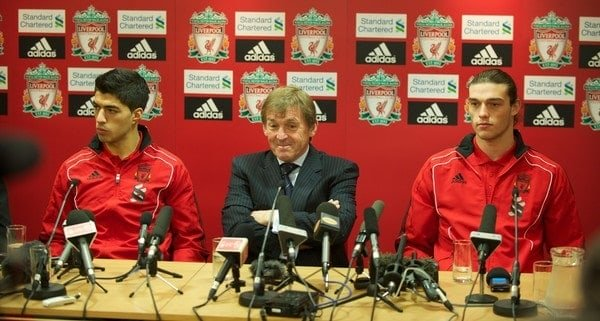 LIVERPOOL, ENGLAND - Thursday, February 3, 2011: Liverpool's new sigingings Luis Suarez and Andy Carroll with manager Kenny Dalglish during a photo-call at Anfield. Suarez signed from Ajax for £22.8m whilst Carroll arrived from Newcastle United for a club record fee of £35m. (Photo by David Rawcliffe/Propaganda)