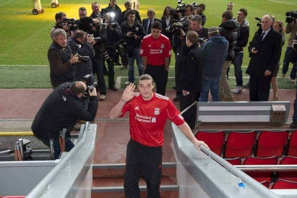 LIVERPOOL, ENGLAND - Thursday, February 3, 2011: Liverpool's new siginging Andy Carroll during a photo-call at Anfield. Carroll arrived from Newcastle United for a club record fee of £35m. (Photo by David Rawcliffe/Propaganda)