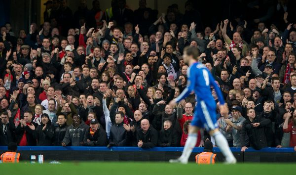 LONDON, ENGLAND - Sunday, February 6, 2011: Chelsea's Fernando Torres is abused by Liverpool fans during the Premiership match at Stamford Bridge. (Photo by Chris Brunskill/Propaganda)