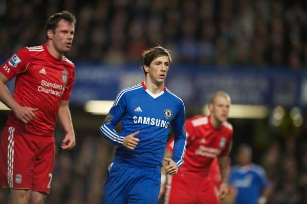 LONDON, ENGLAND - Sunday, February 6, 2011: Chelsea's Fernando Torres in action against Liverpool during the Premiership match at Stamford Bridge. (Photo by Chris Brunskill/Propaganda)