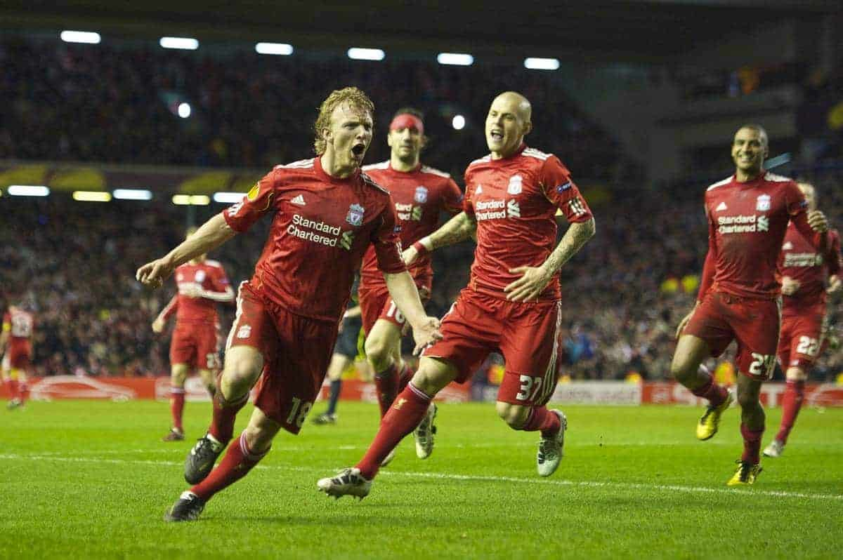 LIVERPOOL, ENGLAND, Thursday, February 24, 2011: Liverpool's Dirk Kuyt celebrates scoring a late winning goal against AC Sparta Praha during the UEFA Europa League Round of 32 2nd leg match at Anfield. (Photo by David Rawcliffe/Propaganda)
