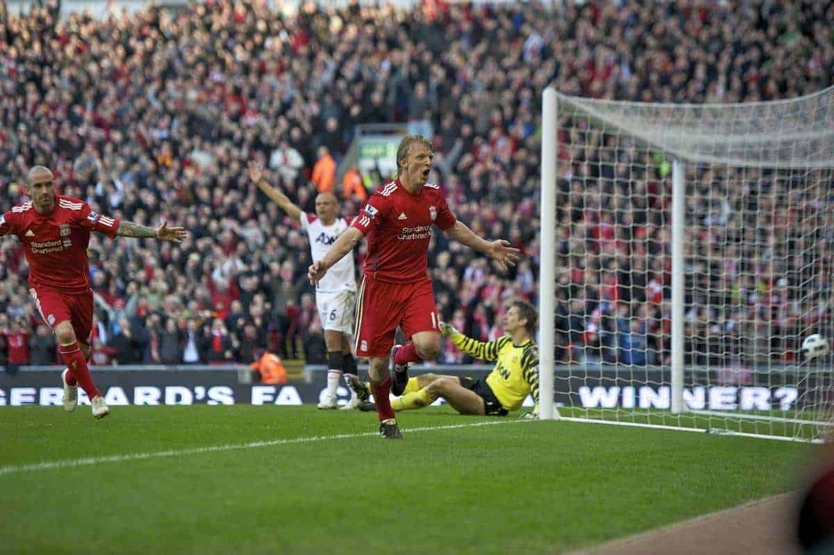 LIVERPOOL, ENGLAND - Sunday, March 6, 2011: Liverpool's Dirk Kuyt celebrates scoring his hat-trick after scoring the third goal against Manchester United during the Premiership match at Anfield. (Photo by David Rawcliffe/Propaganda)