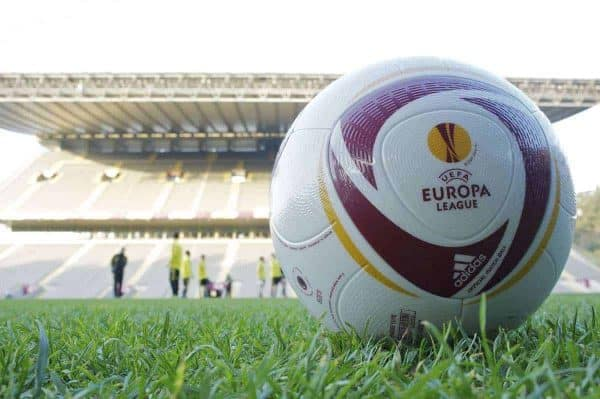 BRAGA, PORTUGAL, Wednesday, March 9, 2011: An official Adidas match ball on the turf as Liverpool players begin training at the Estadio Municipal de Braga ahead of the UEFA Europa League Round of 16 1st leg match against Sporting Clube de Braga. (Photo by David Rawcliffe/Propaganda)