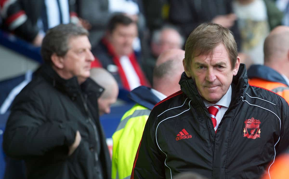 WEST BROMWICH, ENGLAND - Saturday, April 2, 2011: Liverpool's manager Kenny Dalglish MBE and West Bromwich Albion's manager Roy Hodgson during the Premiership match at The Hawthorns. (Photo by Dave Kendall/Propaganda)