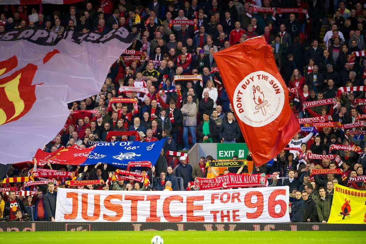 LIVERPOOL, ENGLAND - Monday, April 11, 2011: Liverpool supporters on the Spion Kop display banners to mark the 22nd anniversary of the Hillsborough Stadium Disaster, which claimed the lives of 96 Liverpool fans, before the Premiership match against Manchester City at Anfield. (Photo by David Rawcliffe/Propaganda).