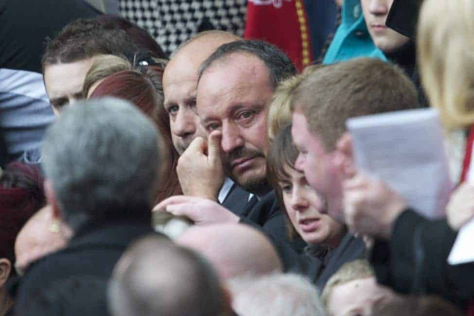 LIVERPOOL, ENGLAND - Friday, April 15, 2011: Liverpool's former manager Rafael Benitez at the Memorial Service to remember the 96 victims of the Hillsborough Stadium Disaster in 1989. (Photo by David Rawcliffe/Propaganda)
