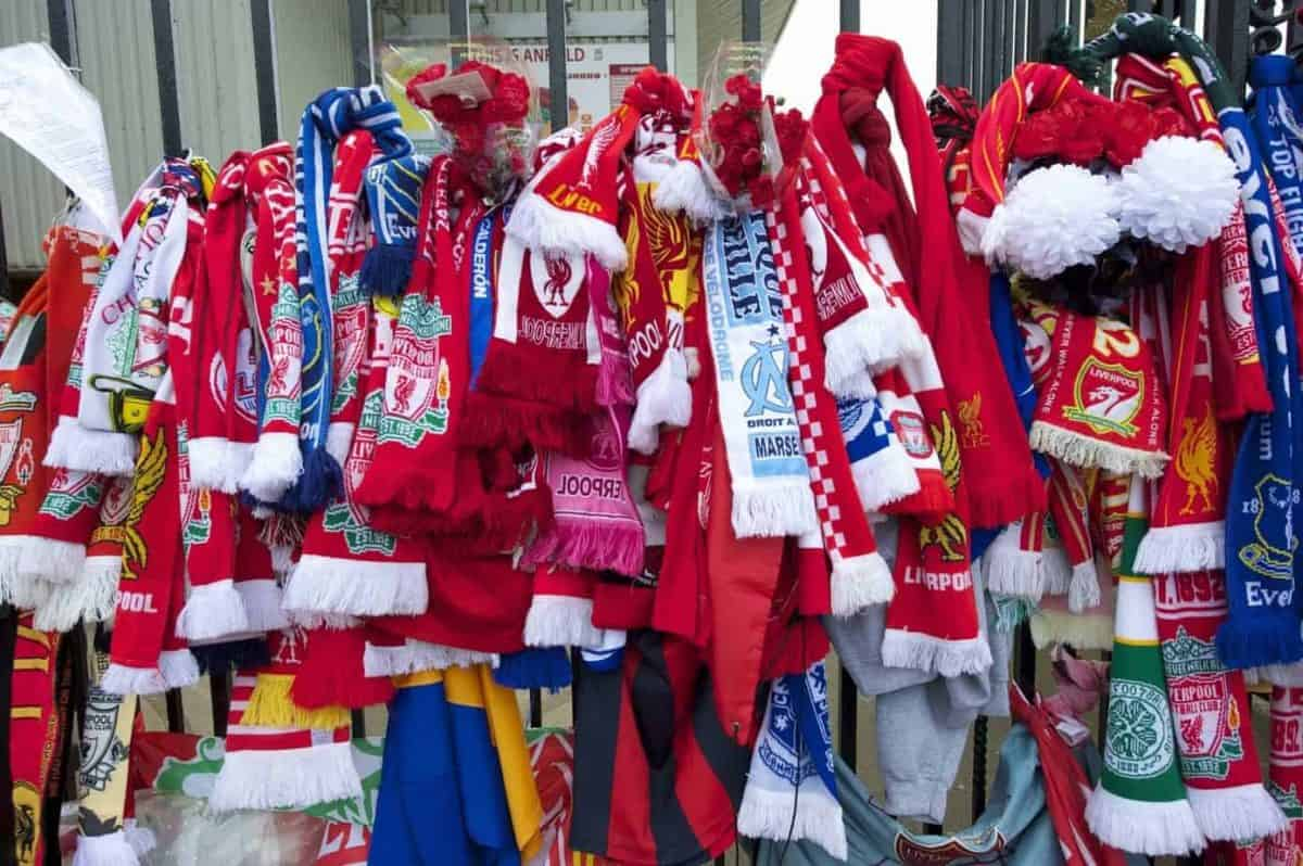 Scarves and floral tributes left at the Shankly Gates at the Memorial Service to remember the 96 victims of the Hillsborough Stadium Disaster in 1989. (Photo by David Rawcliffe/Propaganda)