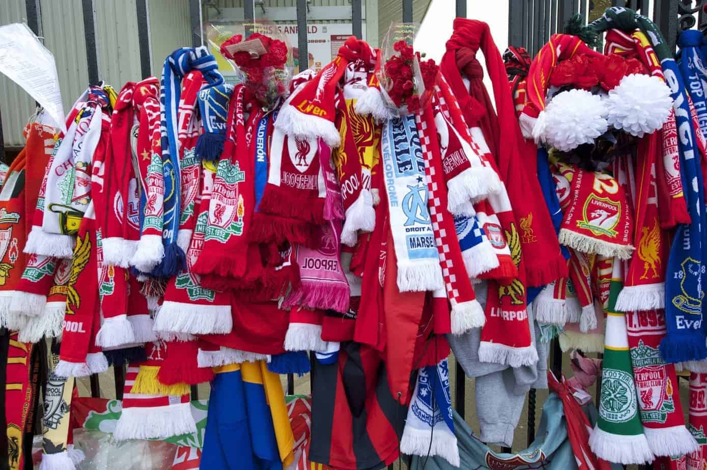 LIVERPOOL, ENGLAND - Friday, April 15, 2011: Scarves and floral tributes left at the Shankly Gates at the Memorial Service to remember the 96 victims of the Hillsborough Stadium Disaster in 1989. (Photo by David Rawcliffe/Propaganda)
