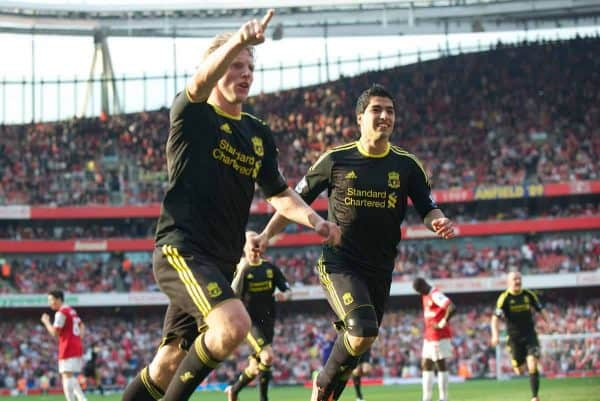 LONDON, ENGLAND - Sunday, April 17, 2011: Liverpool's Dirk Kuyt celebrates scoring an injury time equalising goal from the penalty spot against Arsenal during the Premiership match at the Emirates Stadium. (Photo by David Rawcliffe/Propaganda)