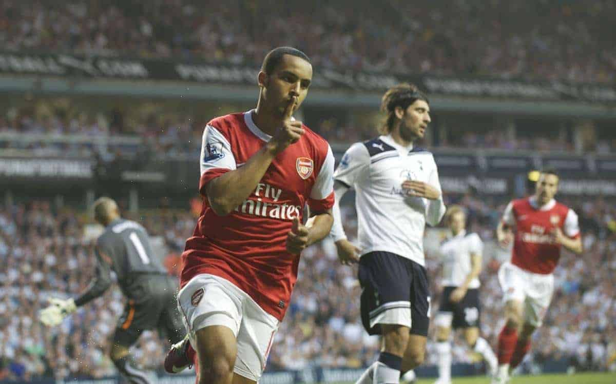 LONDON, ENGLAND - Wednesday, April 20, 2011: Arsenal's Theo Walcott scores the first goal against Tottenham Hotspur during the Premiership match at White Hart Lane. (Photo by David Rawcliffe/Propaganda)