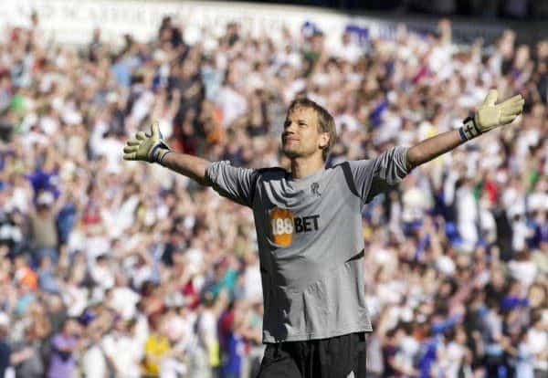 BOLTON, ENGLAND - Sunday, April 24, 2011: Bolton Wanderers' goalkeeper Jussi Jaaskelainen celebrates his side's first goal against Arsenal during the Premiership match at the Reebok Stadium. (Photo by Vegard Grott/Propaganda)
