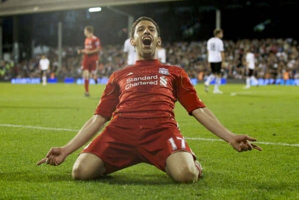 LONDON, ENGLAND - Monday, May 9, 2011: Liverpool's Maximiliano Ruben Maxi Rodriguez celebrates scoring the third of his hat-trick of goals against Fulham to put his side 4-1 up during the Premiership match at Craven Cottage. (Photo by David Rawcliffe/Propaganda)