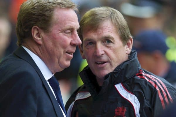 LIVERPOOL, ENGLAND - Sunday, May 15, 2011: Liverpool's manager Kenny Dalglish MBE and Tottenham Hotspur's manager Harry Redknapp during the Premiership match at Anfield. (Photo by David Rawcliffe/Propaganda)