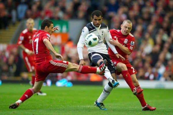 LIVERPOOL, ENGLAND - Sunday, May 15, 2011: Liverpool's Maximiliano Ruben Maxi Rodriguez and Jay Spearing tackle Tottenham Hotspur's Sandro during the Premiership match at Anfield. (Photo by David Rawcliffe/Propaganda)