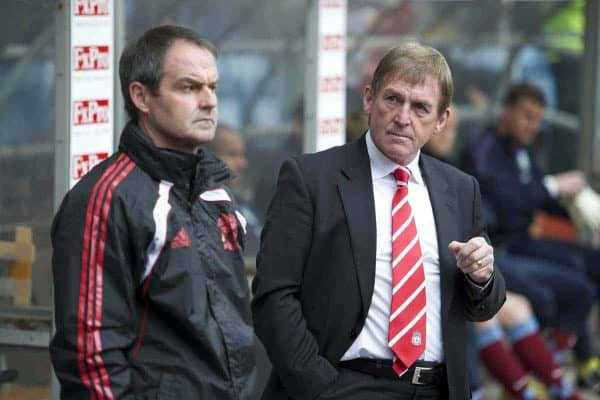 BIRMINGHAM, ENGLAND - Sunday, May 22, 2011: Liverpool's manager Kenny Dalglish and assistant manager Steve Clarke during the Premiership match against Aston Villa at Villa Park. (Photo by David Rawcliffe/Propaganda)