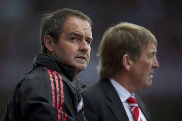 BIRMINGHAM, ENGLAND - Sunday, May 22, 2011: Liverpool's assistant manager Steve Clarke with manager Kenny Dalglish during the Premiership match against Aston Villa at Villa Park. (Photo by David Rawcliffe/Propaganda)