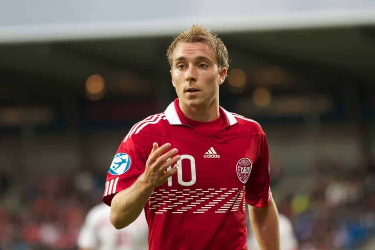 AALBORG, DENMARK - Saturday, June 11, 2011: Denmark's Christian Eriksen (AFC Ajax) in action against Switzerland during the UEFA Under-21 Championship Denmark 2011 Group A match at the Aalborg Stadion. (Photo by Vegard Grott/Propaganda)