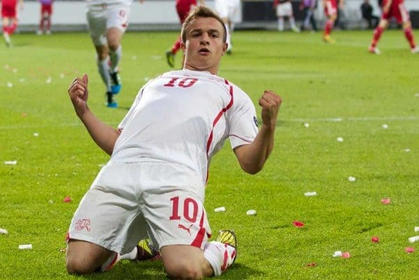 AALBORG, DENMARK - Saturday, June 11, 2011: Switzerland's Xherdan Shaqiri (FC Basel 1893) celebrates scoring the first goal against Denmark during the UEFA Under-21 Championship Denmark 2011 Group A match at the Aalborg Stadion. (Photo by Vegard Grott/Propaganda)