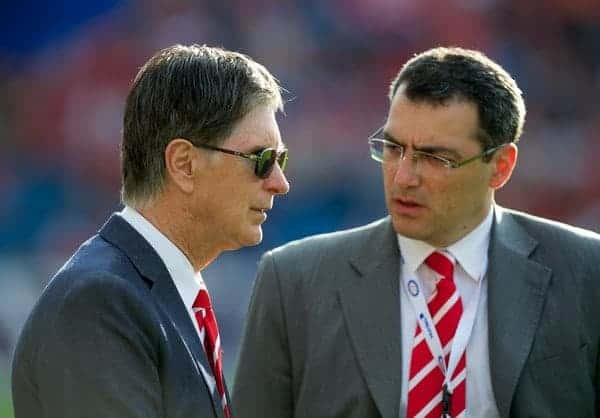 OSLO, NORWAY - Monday, August 1, 2011: Liverpool's owner John W. Henry with Director of Football Strategy Damien Comolli before a preseason friendly match against Valerenga at the Ulleval Stadion. (Photo by David Rawcliffe/Propaganda)