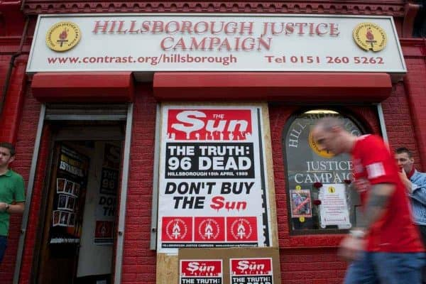 LIVERPOOL, ENGLAND - Saturday, August 13, 2011: The Hillsborough Justic Campaign shop on Walton Breck Road, organising a renewed campaign to boycott the Sun newspaper, before a Premiership match at Anfield. (Pic by David Rawcliffe/Propaganda)