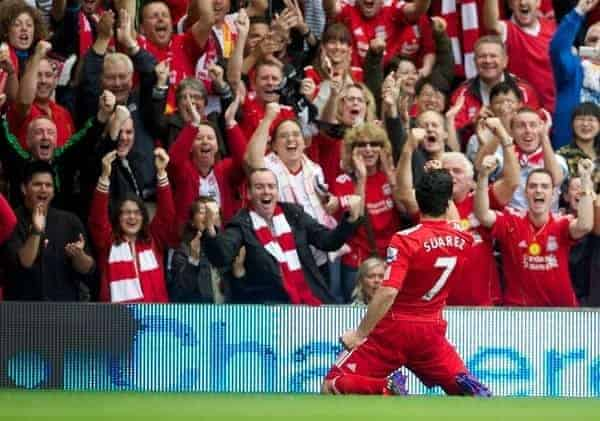 LIVERPOOL, ENGLAND - Saturday, August 13, 2011: Liverpool's Luis Alberto Suarez Diaz celebrates scoring the first goal against Sunderland during the Premiership match at Anfield. (Pic by David Rawcliffe/Propaganda)