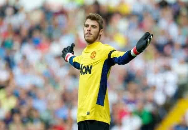 WEST BROMWICH, ENGLAND - Sunday, August 14, 2011: Manchester United's new goalkeeper David de Gea in action against West Bromwich Albion during the Premiership match at the Hawthorns. (Pic by David Rawcliffe/Propaganda)