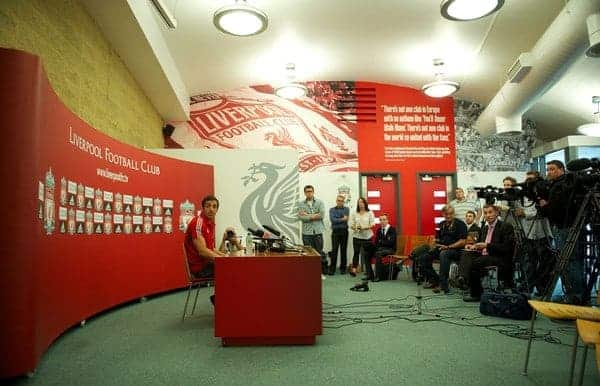 LIVERPOOL, ENGLAND - Thursday, August 18, 2011: Liverpool's new signing Jose Enrique during a press conference at the club's Melwood Training Ground. (Pic by David Rawcliffe/Propaganda)