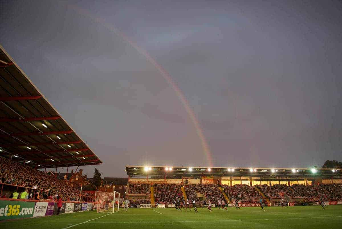EXETER, ENGLAND - Wednesday, August 24, 2011: A rainbow over the ground as Liverpool take on Exeter City during the Football League Cup 2nd Round match at St James Park. (Pic by David Rawcliffe/Propaganda)