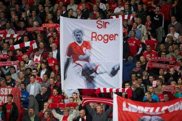 LIVERPOOL, ENGLAND - Saturday, August 27, 2011: Liverpool fans' banner remembering 'Sir' Roger Hunt during the Premiership match against Bolton Wanderers at Anfield. (Pic by David Rawcliffe/Propaganda)